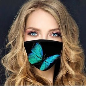 Comfortable Face Mask Turquoise Blue Butterfly